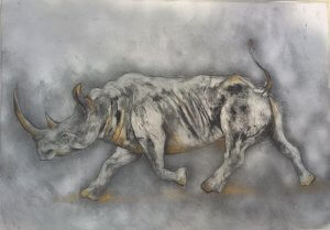 Rhino Monoprint by Trish Jackson.  120cm x 86cm on Hahnemuehle paper. Monoprint 2012, hand painted in 2015.